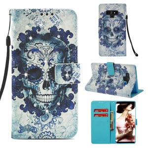 Pattern Printing Rhinestone Decor Leather Cell Phone Cover for Samsung Galaxy Note9 N960 - Flowered Skull