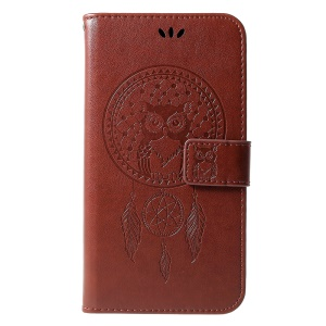 Stampa Gufo Dream Catcher Portafoglio Basamento In Pelle Cover Mobile Per Samsung Galaxy J6 + / J6 Primo - Marrone