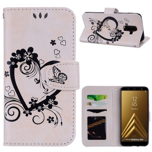Imprint Heart Flower Leather Flip Case for Samsung Galaxy A6 (2018) Plus - White
