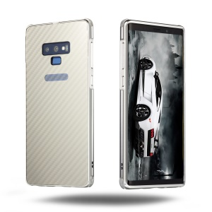 For Samsung Galaxy Note9 N960 Electroplated Cover [Slide-on] Carbon Fiber PC Plate + Metal Bumper Drop-proof Casing - Silver