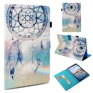 Leather Case for Samsung Galaxy Tab A 10.5 (2018) T590 T595 / Pattern Printing / Wallet / Stand / Smart Awakening - Blue Dream Catcher