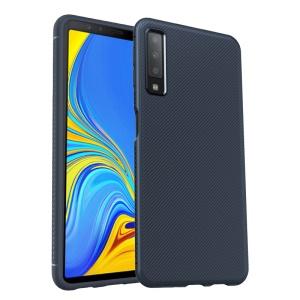 LENUO Twill Texture TPU Cell Phone Case for Samsung Galaxy A7 (2018) - Dark Blue