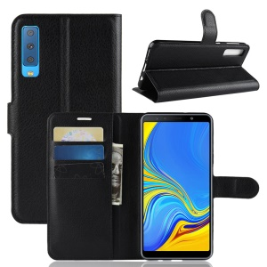 Litchi Skin PU Leather Flip Phone Case for Samsung Galaxy A7 (2018) - Black