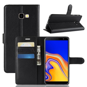 Litchi Skin Wallet Leather Stand Case for Samsung Galaxy J4+ - Black