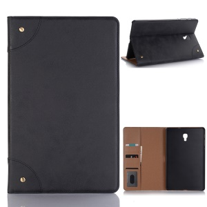 Retro Book Style Wallet Leather Smart Case for Samsung Galaxy Tab A 10.5 (2018) T590 T595 - Black