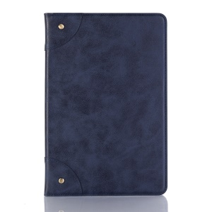 Vintage Book Design Wallet Stand Leather Smart Shell for Samsung Galaxy Tab S4 10.5 T835 - Dark Blue