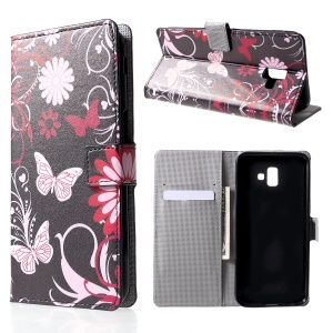 Pattern Printing Wallet Leather Flip Case for Samsung Galaxy J6+/J6 Prime - Butterfly and Flower