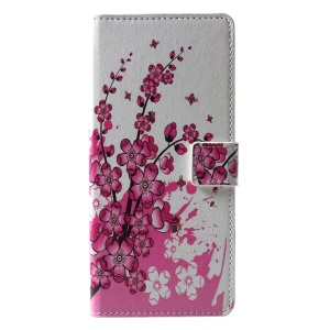 Pattern Printing Wallet Leather Mobile Casing for Samsung Galaxy J6+/J6 Prime - Plum Blossom