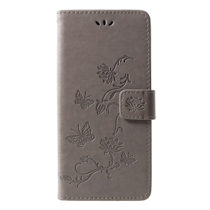 Imprint Butterfly Flower Leather Wallet Stand Cover for Samsung Galaxy J6+ / J6 Prime - Grey