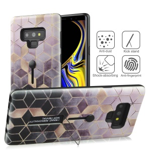 Embossment Rhombus Grid Pattern TPU + Plastic Combo Mobile Phone Case with Kickstand for Samsung Galaxy Note9 N960 - Pink/Black