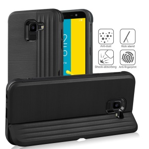 PC TPU Dual Layer Hybrid Case with Kickstand and Card Slot for Samsung Galaxy J6 (2018) - Black