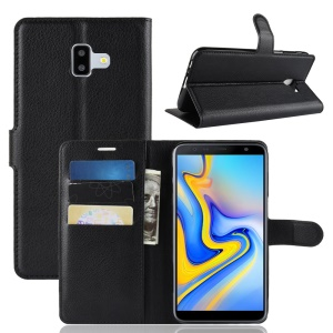 Litchi Skin Leather Stand Cover with Card Slots for Samsung Galaxy J6 Plus - Black