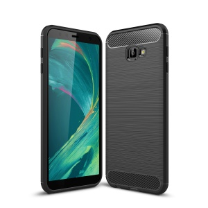 Carbon Fiber Texture Brushed TPU Mobile Phone Casing for Samsung Galaxy J4+ - Black