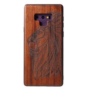 Carving Pattern Wood TPU Hybrid Case for Samsung Galaxy Note9 N960 - Lion
