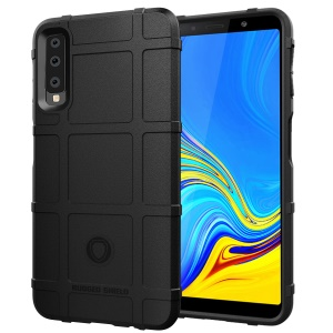 Anti-shock Square Grid Texture Soft TPU Phone Case for Samsung Galaxy A7 (2018) - Black