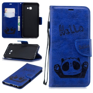 Custodia In Rilievo Con Panda Stampato Custodia In Pelle Per Samsung Galaxy J4 Plus / J4 Primo - Blu
