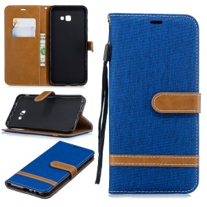 Two-tone Jean Cloth Leather Wallet Stand Shell for Samsung Galaxy J4 Plus / J4 Prime - Baby Blue