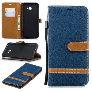 Two-tone Jean Cloth Leather Stand Wallet Shell for Samsung Galaxy J4 Plus / J4 Prime - Dark Blue