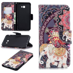 Patterned Leather Wallet Stand Cell Phone Protection Cover for Samsung Galaxy J4 Plus / J4 Prime - Elephant and Peacock
