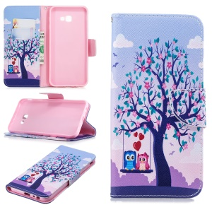 Pattern Printing PU Leather Magnetic Wallet Stand Mobile Phone Case for Samsung Galaxy J4 Plus / J4 Prime - Owls on Swing