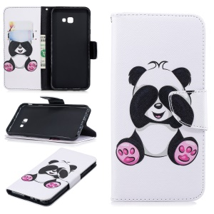 Pattern Printing PU Leather Stand Magnetic Wallet Case for Samsung Galaxy J4 Plus / J4 Prime - Cute Panda
