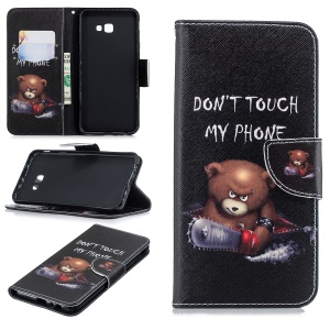 Pattern Printing PU Leather Protection Cellphone Shell for Samsung Galaxy J4+ / J4 Prime - Bear And Its Warnings