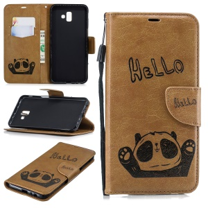 Imprinted Hello Panda PU Leather Mobile Phone Cover Shell with Card Slots for Samsung Galaxy J6 Plus / J6 Prime - Khaki