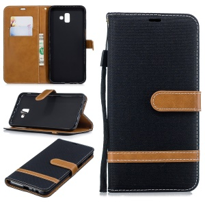 Two-tone Jean Cloth PU Leather Flip Case for Samsung Galaxy J6+ / J6 Prime - Black