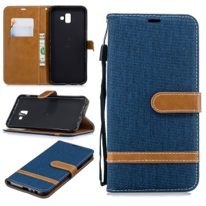 Bi-color Jean Cloth Leather Case Wallet Stand Phone Cover Shell for Samsung Galaxy J6 Plus / J6 Prime - Dark Blue