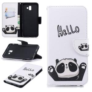 Pattern Printing PU Leather Cover for Samsung Galaxy J6+ / J6 Prime - Adorable Panda
