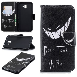 Patterned PU Leather Cell Phone Case for Samsung Galaxy J6+ / J6 Prime - Angry Face and Warning Words