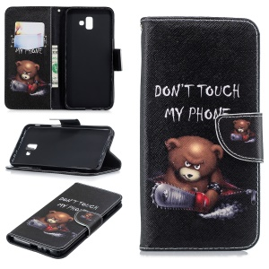 Patterned Wallet Stand Leather Phone Cover for Samsung Galaxy J6+ / J6 Prime - Brown Bear and Do Not Touch My Phone