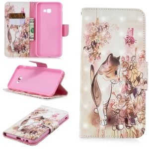 Pattern Printing Wallet Stand Leather Cover for Samsung Galaxy J4+ / J4 Prime - Cat and Flower