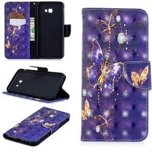 Patterned Stand Leather Folio Case Cover for Samsung Galaxy J4+ / J4 Prime - Purple Butterfly