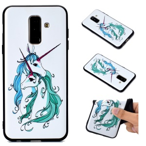 3D Pattern Printing Embossed TPU Protection Case for Samsung Galaxy A6 Plus (2018) / A9 Star Lite - Unicorn