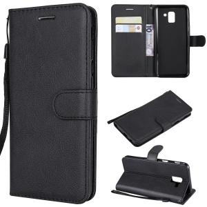 Wallet Leather Stand Case for Samsung Galaxy J6 (2018) - Black