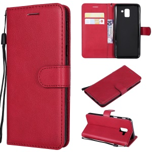Wallet Leather Stand Cover for Samsung Galaxy J6 (2018) - Red