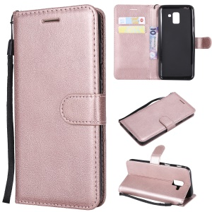 Wallet Leather Stand Shell Case for Samsung Galaxy J6 (2018) - Rose Gold