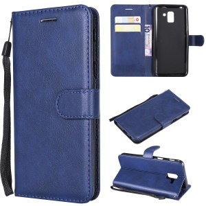 Wallet Leather Stand Phone Case for Samsung Galaxy J6 (2018) - Blue