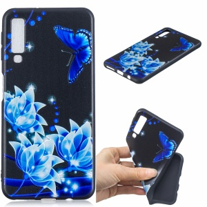 Pattern Printing Embossment TPU Protection Case for Samsung Galaxy A7 (2018) - Blue Flower and Butterfly