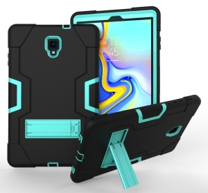 Cool PC + Silicone Hybrid Kickstand Tablet Cover for Samsung Galaxy Tab A 10.5 (2018) T590 T595 - Cyan / Black