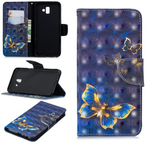 Pattern Printing Light Spot Decor Leather Wallet Case for Samsung Galaxy J6+ - Blue Butterfly