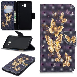 Pattern Printing Light Spot Decor Magnetic Leather Stand Case for Samsung Galaxy J6+ - Flying Butterfly