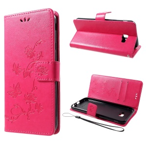 Imprint Butterfly Flower Wallet Stand Leather Case for Samsung Galaxy J4+ - Rose