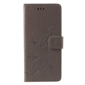 Imprint Butterfly Flower Wallet Stand Leather Shell for Samsung Galaxy J4+ - Grey