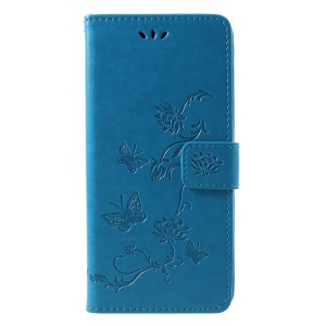 Imprint Butterfly Flower Wallet Stand Leather Protective Case for Samsung Galaxy J4+ - Blue