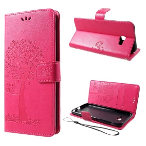 Imprint Tree Owl Magnetic Wallet PU Leather Cover with Stand for Samsung Galaxy J4+ - Rose