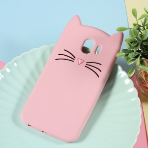 3D Moustache Cat Silicone Shell for Samsung Galaxy J4 (2018) - Pink