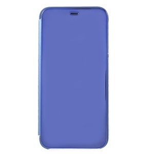 View Window Plated Mirror Surface Leather Stand Shell for Samsung Galaxy J4 Plus - Blue