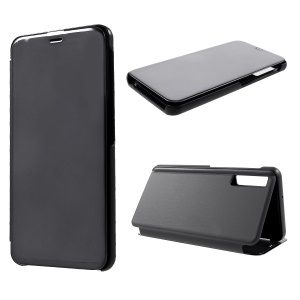View Window Plated Mirror Surface Leather Stand Cover for Samsung Galaxy A7 (2018) - Black